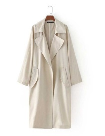 Fashion Khaki Pure Color Decorated Simple Long Coat
