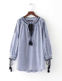 Fashion Blue+white Tassel Decorated Long Sleeves Patchwork Shirt