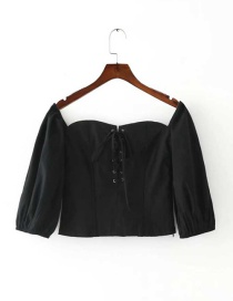 Fashion Black Bowknot Decorated Pure Color Simple Shirt
