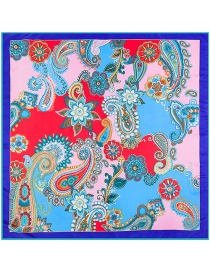 Fashion Sapphire Blue Cashew Nuts&flower Pattern Decorated Simple Scarf