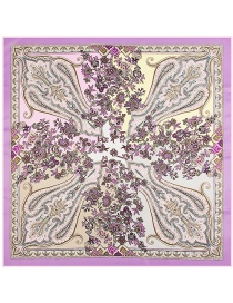 Fashion Light Purple Cashew Nuts&flower Pattern Decorated Simple Scarf