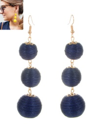 Fashion Navy Beads Decorated Pure Color Simple Earrings