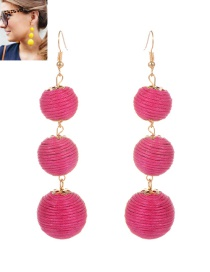 Fashion Plum Red Beads Decorated Pure Color Simple Earrings
