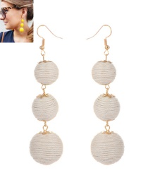 Fashion White Beads Decorated Pure Color Simple Earrings