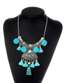 Fashion Blue Tassel&fuzzy Ball Decorated Simple Pom Necklace