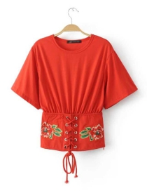Fashion Red Embroidery Flower Decorated Simple Shirt
