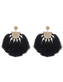 Fashion Black Tassel Decorated Sector Shape Earrings