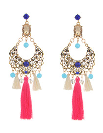 Fashion Plum Red Beads&tassel Decorated Hollow Out Earrings