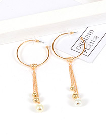 Fashion Gold Color Circular Ring&tassel Decorated Simple Earrings