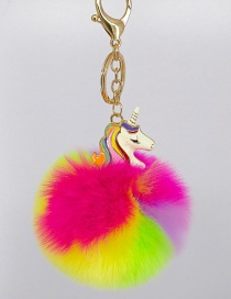Fashion Plum Red+Yellow Unicorn&fuzzy Ball Decorated Simple Key Chian