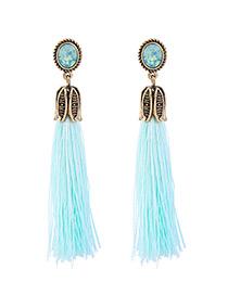Fashion Light Blue Tassel Decorated Simple Earrings