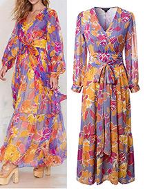 Fashion Orange+purple Flower Pattern Decorated Simple Dress