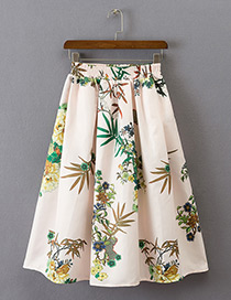 Fashion Light Pink Flower Pattern Decorated Simple Skirt