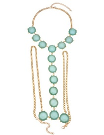 Fashion Light Green Round Shape Decorated Simple Body Chain