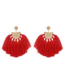 Fashion Red Sector Shape Decorated Tassel Earrings