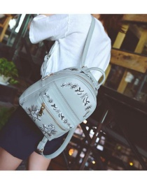 Fashion Gray Embroidery Flower Decorated Simple Backpack