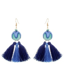 Fashion Blue Ball&tassel Decorated Simple Earrings