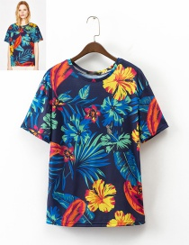 Fashion Multi-color Flower Pattern Decorated Simple Shirt