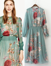 Fashion Multi-color Flower Pattern Decorated Simple Dress