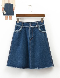 Fashion Blue Pure Color Decorated Simple Skirt