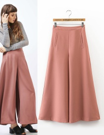 Fashion Dark Pink Pure Color Decorated Simple Trousers