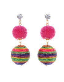 Fashion Plum Red Fuzzy Balls Decorated Simple Pom Earrings