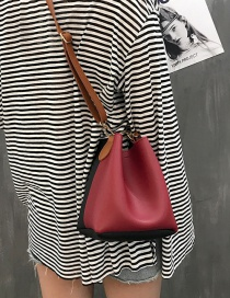 Fashion Claret Red Color Matching Decorated Simple Shoulder Bag