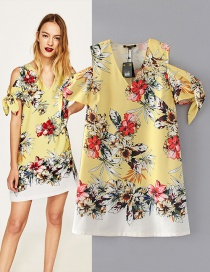 Trendy Multi-color Flower Pattern Decorated Short Sleeves Dress