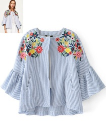 Trendy Blue Embroidery Flower Decorated Long Sleeves Coat
