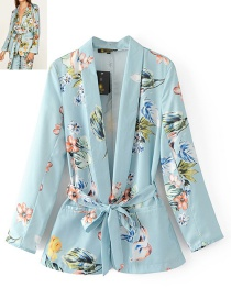 Fashion Multi-color Flower Pattern Decorated Long Sleeves Leisure Suit
