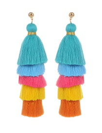 Fashion Lake Blue Tassel Decorated Simple Earrings