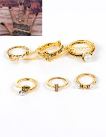 Fashion Gold Color Pearl Decorated Flower Shape Simple Ring (4 Pcs)