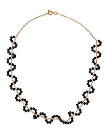 Fashion Gold Color+black Bead Decorated Simple Necklace