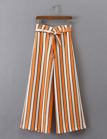 Fashion Orange Stripe Pattern Decorated Simple Trousers