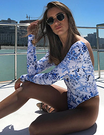 Sexy White+blue Flower Pattern Decorated Simple Swimwear