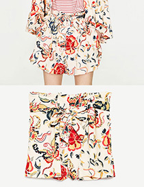 Fashion Pink Flower Pattern Decorated Simple Shorts