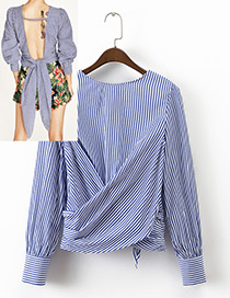 Fashion Blue+white Stripe Pattern Decorated Simple Shirt