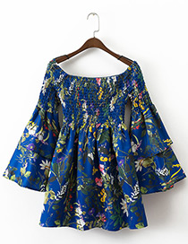 Fashion Sapphire Blue Flower Pattern Decorated Simple Shirts