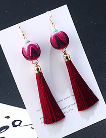 Fashion Red Round Balls&tassel Decorated Earrings