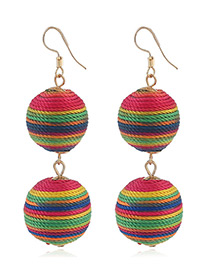 Fashion Multi-color Round Balls Decorated Color Matching Earrings