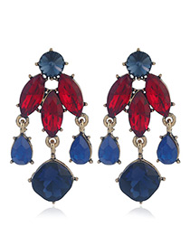 Fashion Red Geometric Shape Diamond Decorated Earrings