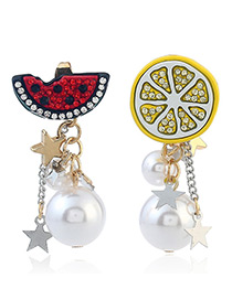 Fashion Yellow Lemon&watermelon Decorated Simple Earrings