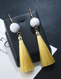 Bohemia Yellow+white Round Ball&tassel Decorated Simple Earrings