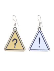 Fashion Yellow+white Exclamation Mark Pattern Decorated Simple Earrings