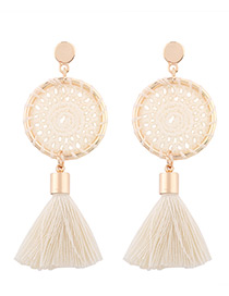 Fashion White Tassel Decorated Pure Color Hand-woven Earrings