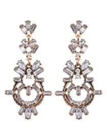 Elegant White Square Shape Diamond Decorated Hollow Out Earrings