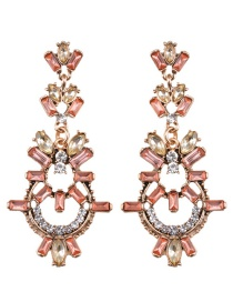 Elegant Pink Square Shape Diamond Decorated Hollow Out Earrings