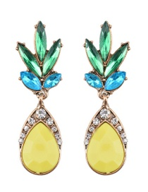Elegant Yellow Pineapple Shape Decorated Simple Earrings