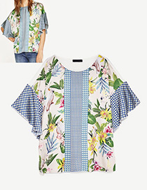 Fashion White Leaf&flower Decorated Short Sleeves Patchwork T-shirt