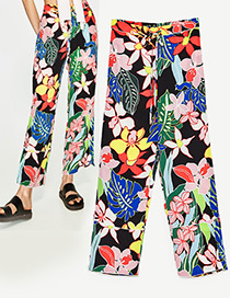 Fashion Multi-color Leaf&flower Decorated Leisure Long Trousers